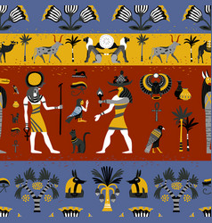 ancient egyptian religion seamless pattern vector image