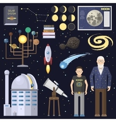 Astronomy icons stickers set vector image vector image