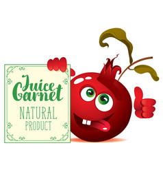 banner for garnet juice with cute character garnet vector image vector image