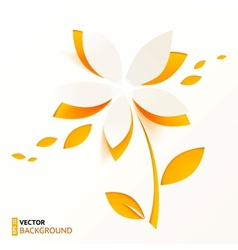 Orange paper flower greeting card template vector image vector image