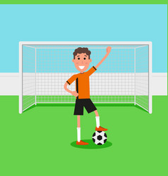 soccer goalkeeper keeping goal on arena athlete vector image