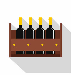 wine bottles in a wooden crate icon flat style vector image