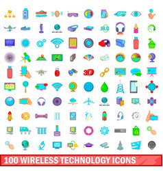 100 wireless technology icons set cartoon style vector image