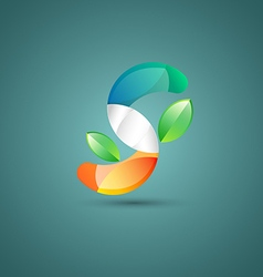 Abstract S with leaf logo vector image