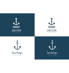 Anchor logo icon set Sea vintage or vector image vector image
