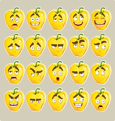 cartoon yellow Bulgarian pepper smile vector image