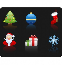 Christmas black background icon set vector image vector image
