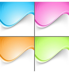 Colorful wave folder templates set vector image vector image