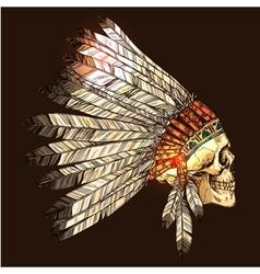 Indian Tribal Headdress With Skull vector image