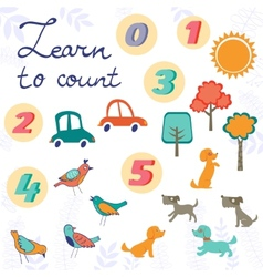 Learn to count concept set of cute graphic vector image
