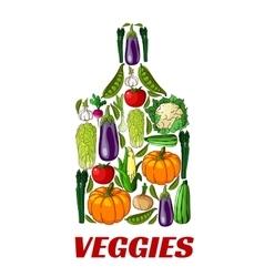Veggies cutting board label icon vector image vector image