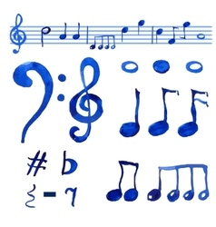 Watercolor blue musical notes set vector image vector image