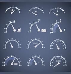 white speedometer interface icon set vector image