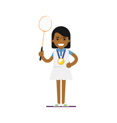 young black woman tennis player with racket vector image vector image