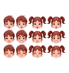 Different expressions of boy and girl vector