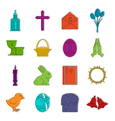 Easter items icons doodle set vector