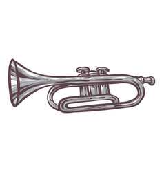 gray trumpet isolated on a white vector image vector image