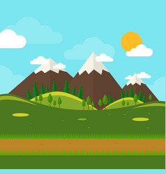 nature landscape with mounties in flat style vector image