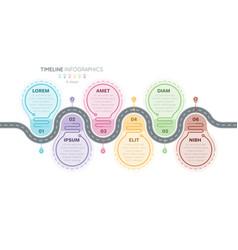 navigation map infographics 6 steps timeline vector image
