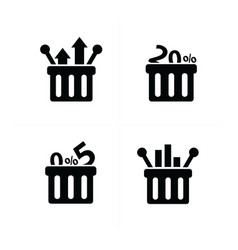 business shopping cart icon set vector image vector image