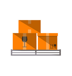 cardboard boxes on pallet icon vector image vector image