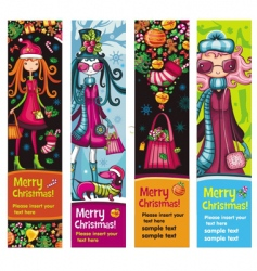 fashion Christmas girls banners vector image