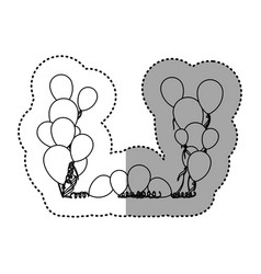 figure colored party balloon with serpentine icon vector image vector image
