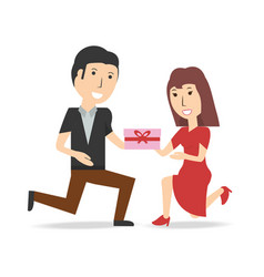 happy couple lover with present gift vector image vector image