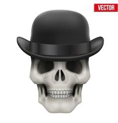 Human skull with black bowler hat vector image