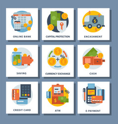 money finanse icons banking safety business vector image