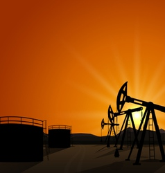 oil pump jack for petroleum and reserve tanks on vector image
