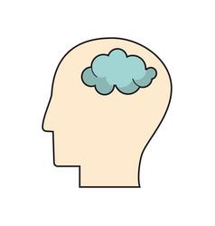 profile head think brain vector image