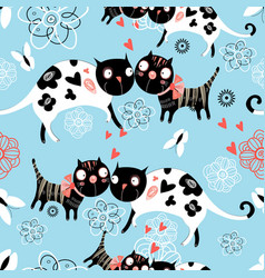 seamless graphic pattern of enamored cats vector image vector image