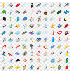 100 amusement icons set isometric 3d style vector