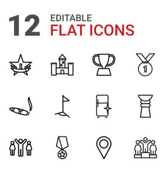 12 place icons vector