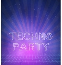 1980 Neon Techno Poster Retro Disco 80s Background vector
