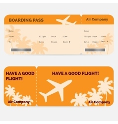 Airline boarding pass Orange ticket isolated on vector image