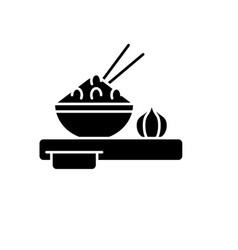 asian food black icon sign on isolated vector image
