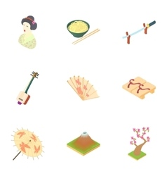 Attractions of South Korea icons set vector