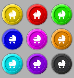 Baby pram icon sign symbol on nine round colourful vector