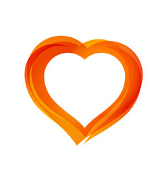 beautiful orange heart vector image