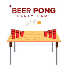 Beer pong game alcohol party game red vector