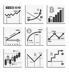 bitcoin growth up chart graphics set vector image