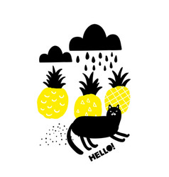 black and yellow print with lazy black cat and vector image