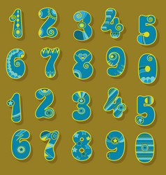 Blue and yellow numbers scandinavian style vector