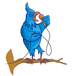 blue bird singing vector image