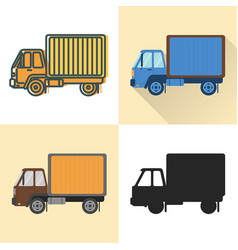 box truck icon set in flat and line styles vector image