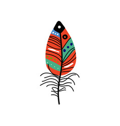 Bright bird feather with colorful patterns vector