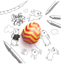Bright colored egg surrounded by happy easter vector