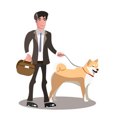 businessman and dog cartoon vector image